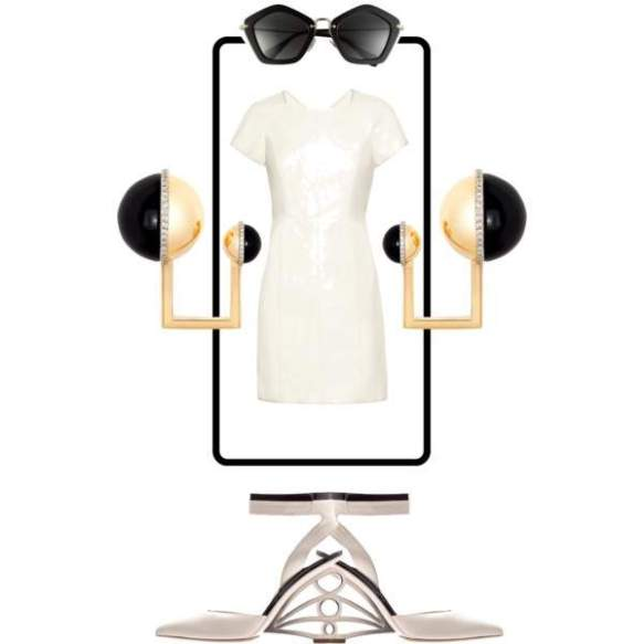 avant-garde geometric cream dress