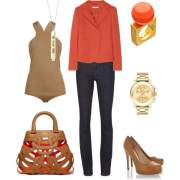 orange color camel color look