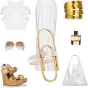 white gold ruffled blouse